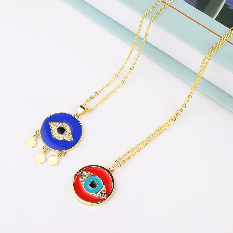 Круглая монета Турецкий Дурной глаз ожерелье Радуга фианит красный синий глаз кулон ожерелье Модные ювелирные изделия женские аксессуары