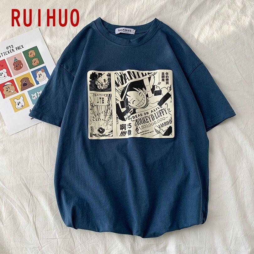 RUIHUO 2020 New Summer ONE PIECE Print Short Sleeve T Shirt Men Anime Casual Tops Fashion Male Funny Tshirt Men T-Shirt M-2XL
