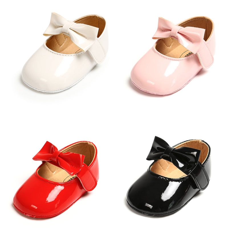 AliExpress - Newborn Baby Girls Shoes PU leather Buckle First Walkers With Bow Red Black Pink White Soft Soled Non-slip Crib Shoes