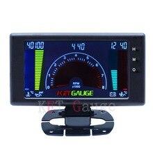 "5"" LCD 5561 6 in1multiple function gauge tachometer,volts,clock,RPM,water temp,oil temp,oil press car auto meter LED gauge"