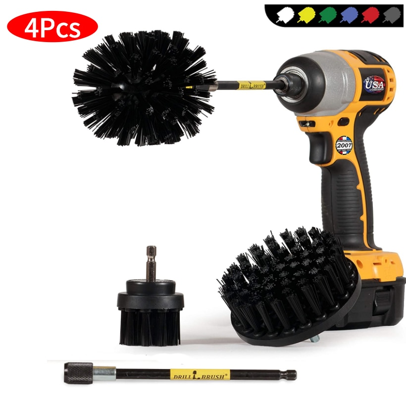 4 Pcs Electric Drill Cleaning Brush Car Planing Beauty Cleaning Brush Set Tire Wheel Cleaning Tool for Cleaning Car, Boat, Seat