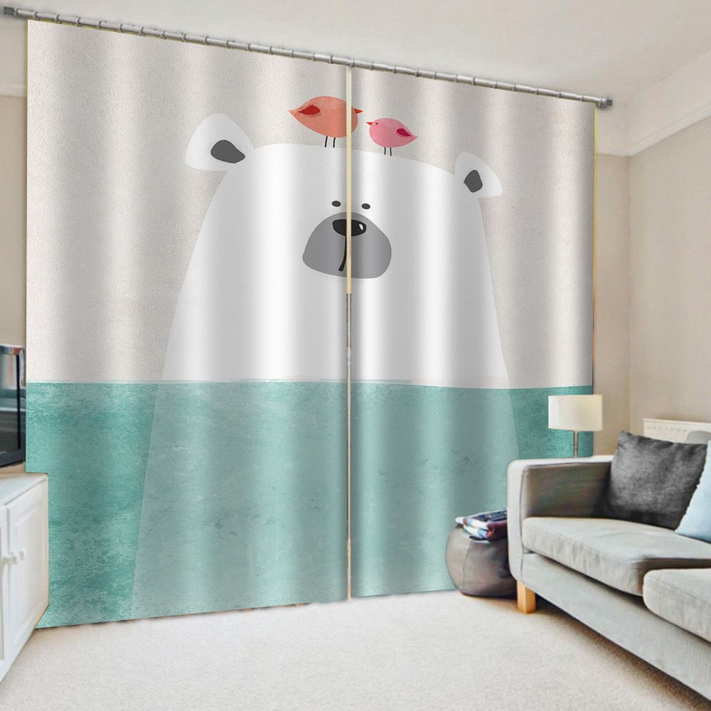 Modern Brief Kids Room Curtains Cute Cartoon Curtains For Living Room Bedroom Home Decor Drapes