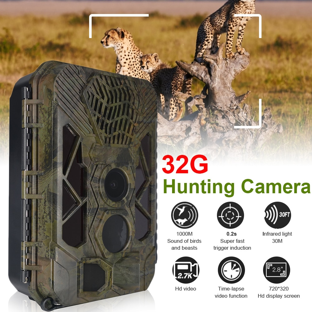 20MP Outdoor Hunting Camera HD 1080P Trail Camera Night Vision Motion Activate Hunting Cam With Animal Sound Wildlife Monitoring