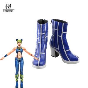 ROLECOS Anime JoJo's Bizarre Adventure Cosplay Shoes High Heels Cosplay Jolyne Cujoh High Heels Blue Boots Halloween Party Shoes