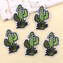 5PCS Cartoon Sunglasses Cactus Embroidery Applique Plants Patch Iron on Patches for Clothing DIY Bac