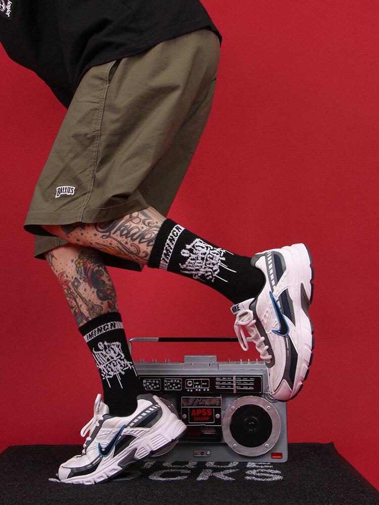 IMINCN 1 par deporte casual cálido nuevo hiphop Harajuku lindo patrón calcetines patineta Hipster hombre tobillo la Navidad, Ginebra, chocolate, vino, si puede leer esto traer vino de
