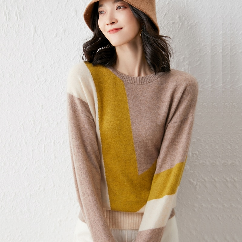 2021 woman winter 100% Cashmere sweaters knitted Pullovers jumper Warm Female Mock Neck blouse blue long sleeve Patchwork enlarge
