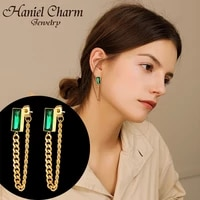 2021 new korean fashion green crystal stone stainless steel gold color chain drop earrings for women party jewelry no fading