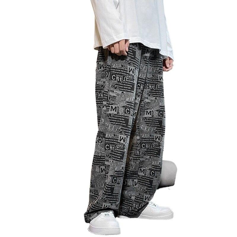 Мужские трикотажные джинсы в стиле ретро, Модные свободные прямые спортивные джинсы, Мужские повседневные Черные джинсы с эластичным поясо...
