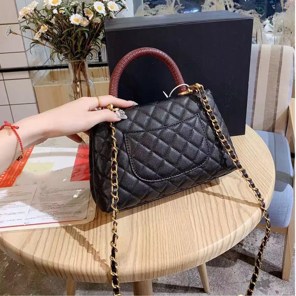 2021 جديد رئيس جلد المرأة حقيبة الكافيار حقيبة يد المعين سلسلة المحمولة واحد الكتف حقيبة ساعي