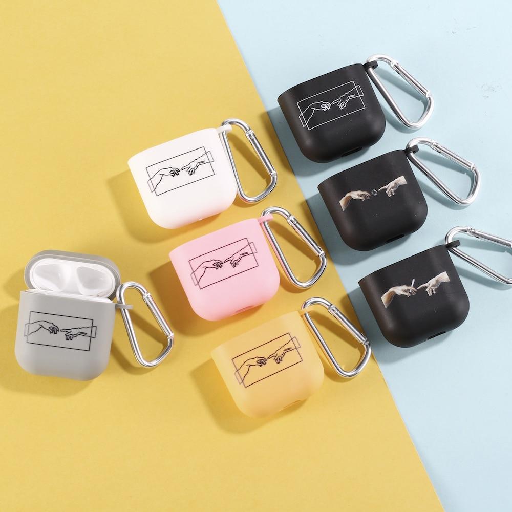 David linhas de arte mão caso fone ouvido para apple iphone caixa carregamento para airpods pro macio doces cor mosquetão capa acessórios
