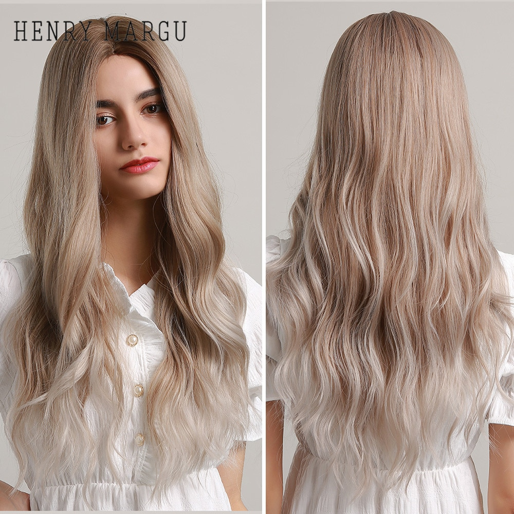 HENRY MARGU Long Ombre Brown Ash White Synthetic Wig Middle Part Body Wave Cosplay Party Daily for Woman Heat Resistant Hair