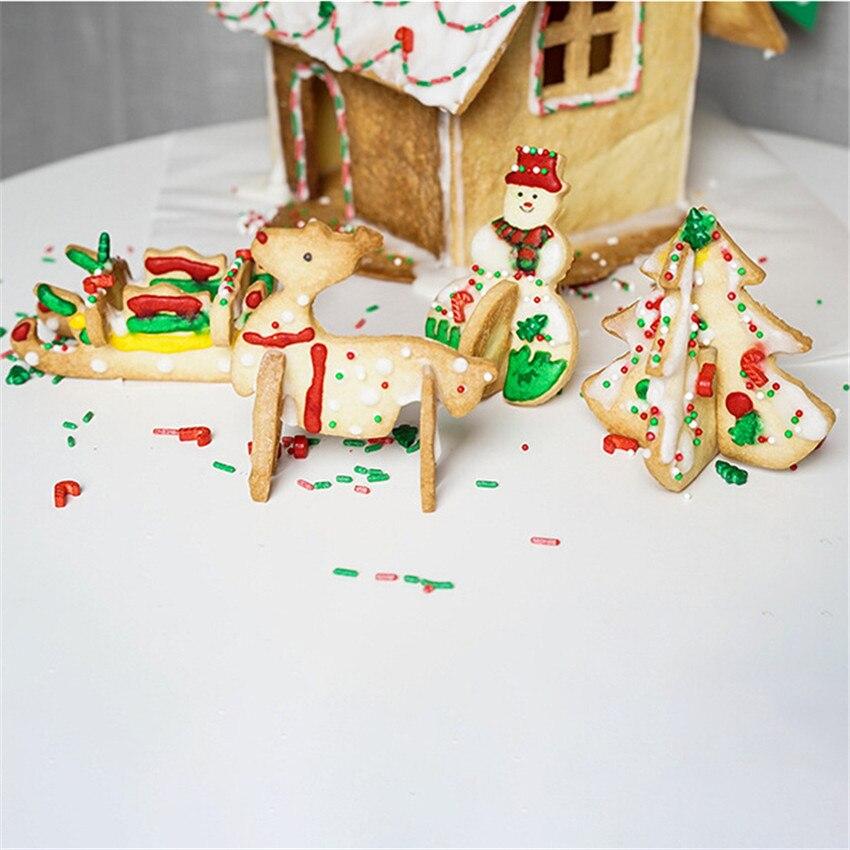 Купить с кэшбэком 8pcs/set Stainless Steel 3D Cookie Cutter Moulds Kit Kitchen DIY Christmas Tree Snowman Biscuit Dessert Mold Baking Tools