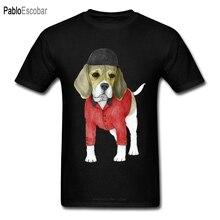 Fitness Mens Tshirt Beagle Dog Print Men's Black T Shirt Pet Lover's Custom Cartoon T-shirt Fade High Quality