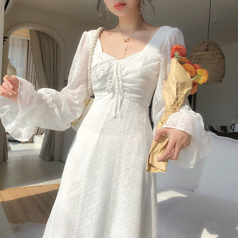 فستان جنية عتيق للسيدات فستان شيفون أنيق بأكمام طويلة فستان حفلات ميدي فرنسي ملابس نسائية للخريف 2021
