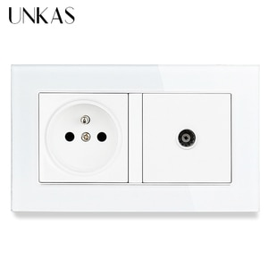 UNKAS Tempered Crystal Glass Panel 16A French Standard Wall Power Socket + TV Televtion Connector Jack 146MM*86MM Outlet