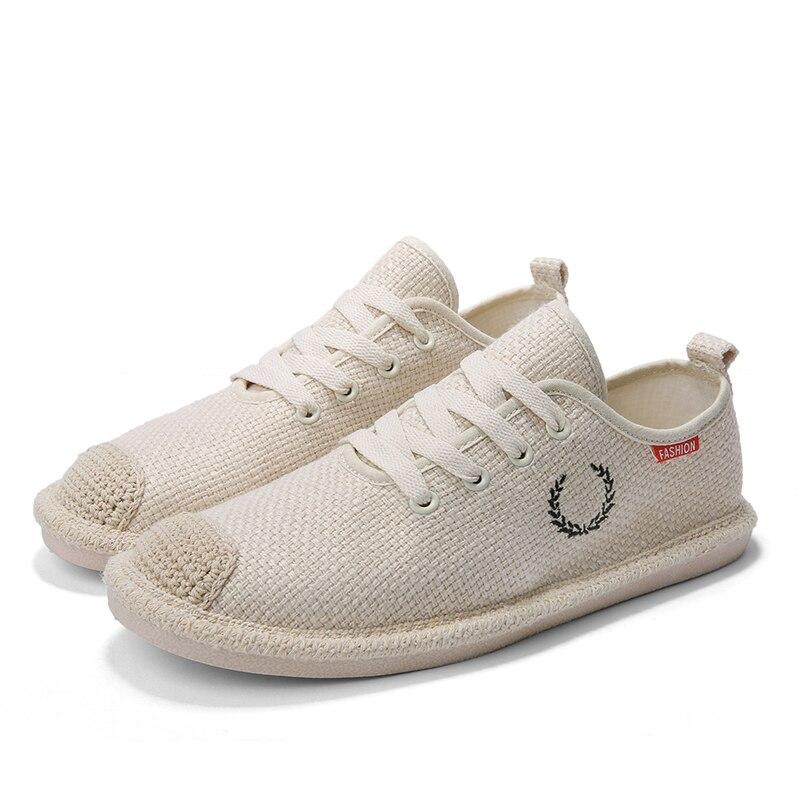 Zapatos de lino para hombre, zapatos de pescador de cáñamo para hombre, zapatos planos informales para hombre, ligeros, transpirables, con cordones, negro, Beige, gris, talla 39-44