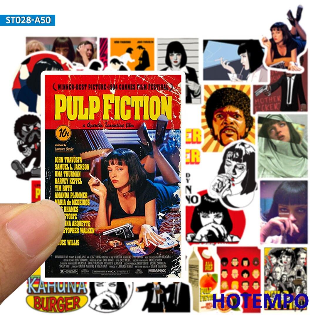 50 stücke Klassische Film Pulp Fiction Poster Aufkleber für Handy Laptop Gepäck Koffer Gitarre Skateboard Aufkleber Aufkleber