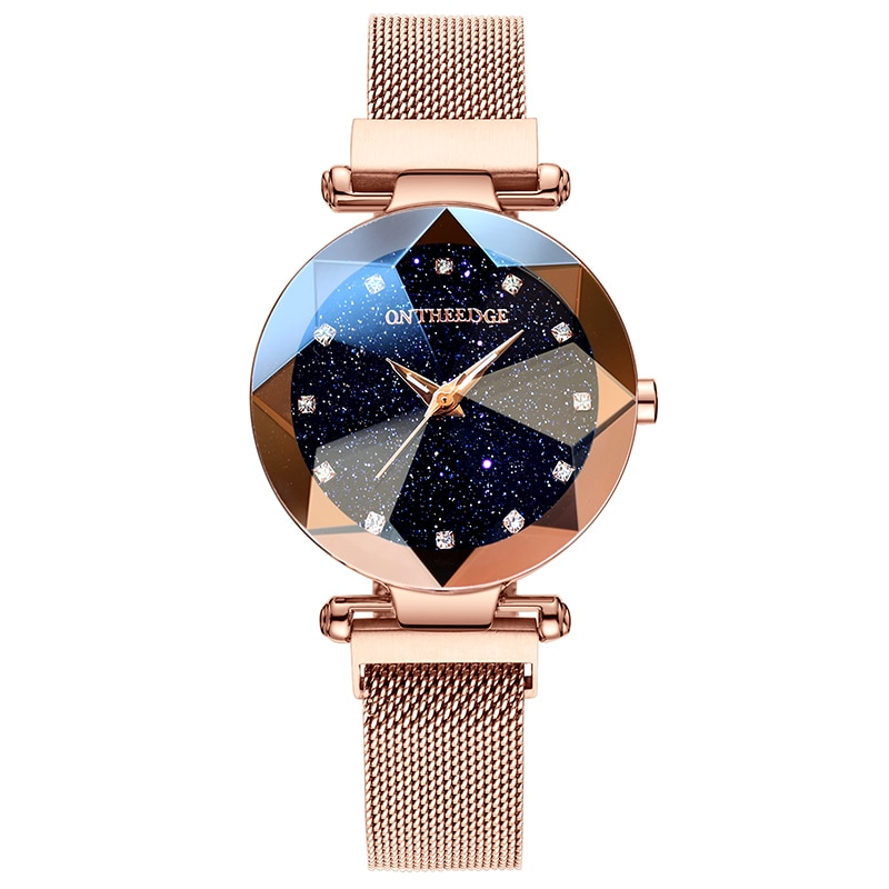 RZY Luxury Women Watches Gold Stainless Steel Ladies Magnetic Starry Sky Clock Fashion Waterproof Quartz Watch Magnetic Strap enlarge