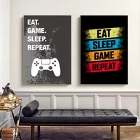 eat sleep game repeat gaming poster gamer canvas painting poster and prints wall art picture for boys room decorative playroom