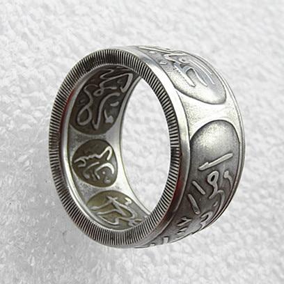 Кольцо ручной работы SA (10) AH1334 8 лет 8 Саудовская Аравия Hejaz 20 пиастр Дата 1 риял Серебряная копия монеты (37 мм) Размер 8-16