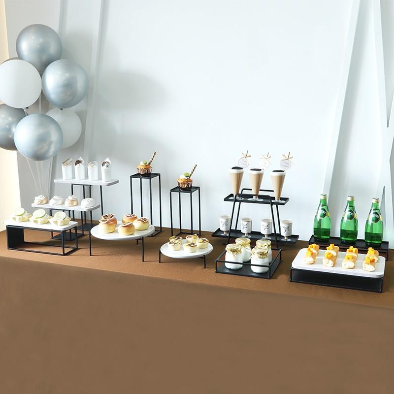 1 قطعة-3 قطعة/مجموعة الأسود كعكة الوقوف المعادن الحلوى الجدول عالية كعكة صينية عيد الميلاد حفلة عيد ميلاد معكرون كب كيك حامل رفوف