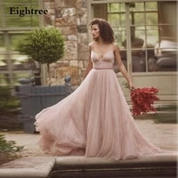 eightree light pink spaghetti v neck long evening dresses backless high sleeveless a line formal prom dresses party gowns