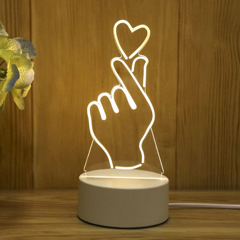 3D stereo night light plug-in creative cartoon mini lamp bedroom bedside lamp acrylic custom gift lamp