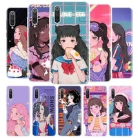 ins kawaii japanese anime illustration girl cover phone case for xiaomi redmi note 9s 10 9 8 8t 7 6 5 6a 7a 8a 9a 9c s2 pro k20