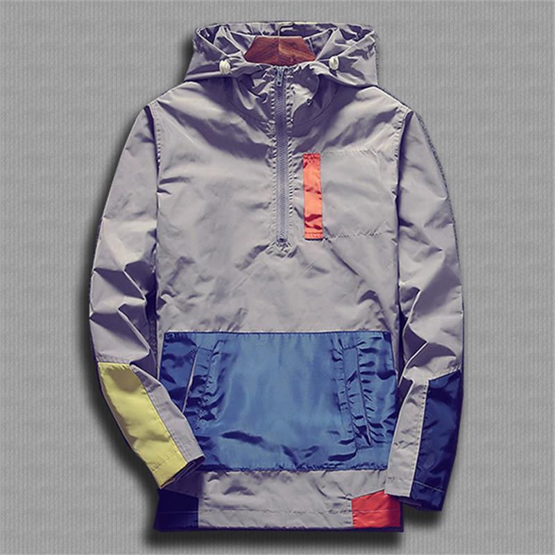 Ветровка мужская с капюшоном, уличная куртка на молнии, ветровка, брендовая одежда, весна-осень 2021