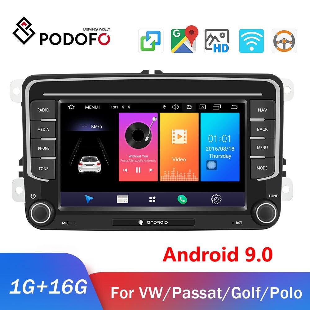 Podofo 2din Android Radio del coche para Volkswagen GPS 2DIN coche reproductor Multimedia coche autoradio para VW Skoda Golf Polo Passat Jetta