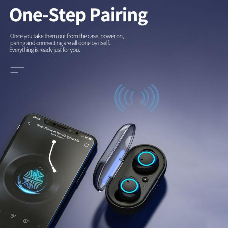 Y50 TWS Bluetooth Earphone Wireless Headphone Stereo Headset Sport Earbuds Microphone With Charging Box For Smartphone tws bluetooth earbuds mini sport wireless earphone for phone stereo music earpiece hands free call headphone with microphone
