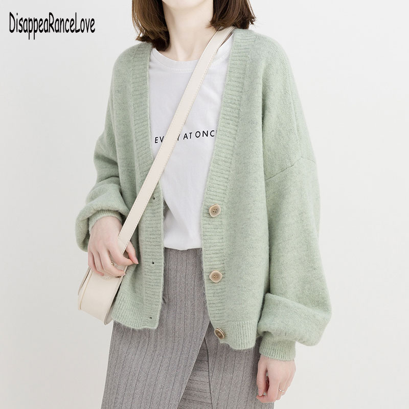 Knitted Chunky Cardigan Sweater Women Simple Solid Thick Button Clothing Sweater Stylish Tops for Fe