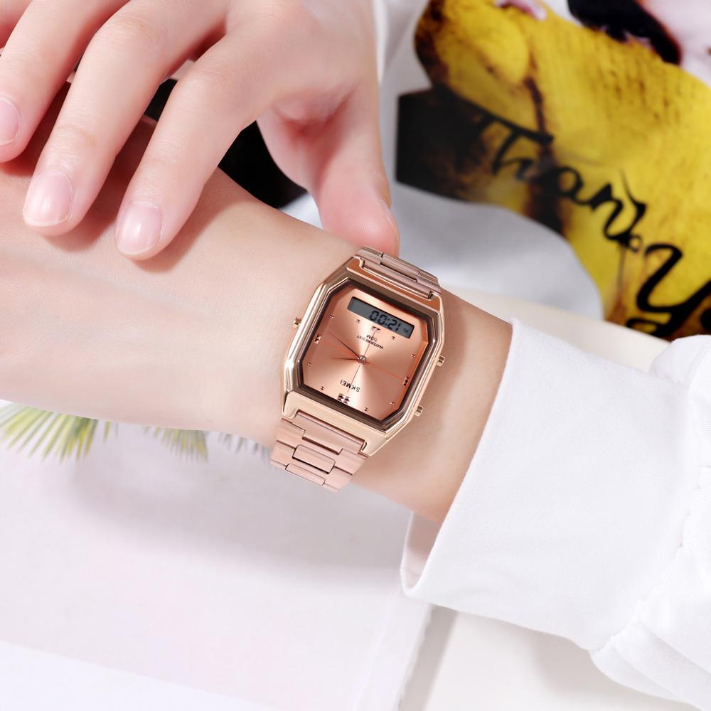 SKMEI 1612 Top Brand Luxury Stainless Steel Ladies Female Electronic Stopwatch Calendar Clock Women Quartz Watches Montre Femme enlarge