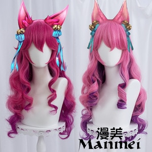 Spirit Blossom Ahri Cosplay LOL Cosplay Women 70cm Long Curly Wave Wig Cosplay Anime Heat Resistant Synthetic Wigs Halloween