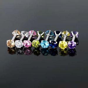 50pcs Body Jewelry 16Gx6mmx4mm  CZ  Rings Earrings Stud Cartilage Helix Tragus Daith Upper Earring Piercings Body Jewelry