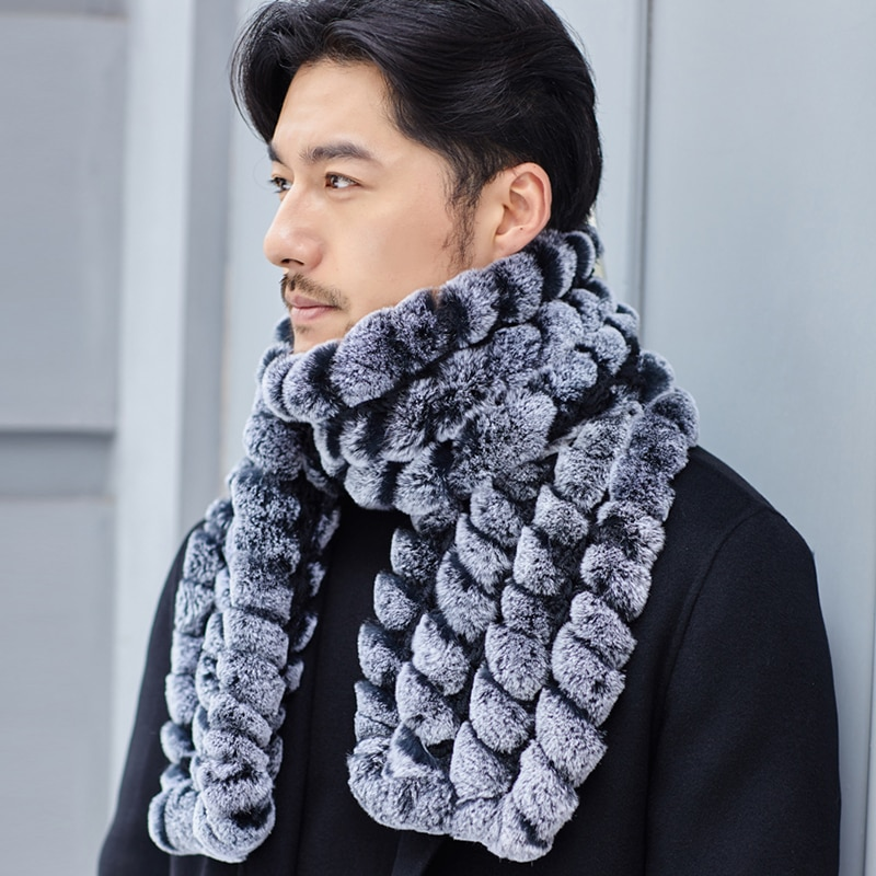 YCFUR New Arrival Men Scarf Winter Real Rex Rabbit Fur Scarves Male Thick Fluffy Real Fur Long Scarf