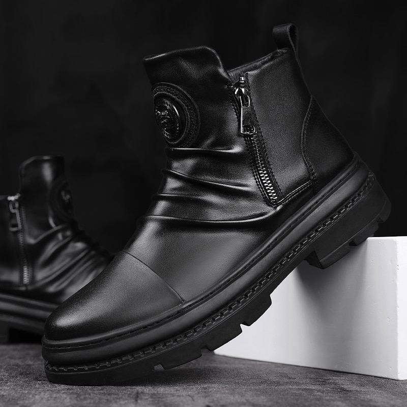Men Martins Boots Leather shoes High Top Fashion Winter Warm Snow shoes Dr. Motorcycle Boots black b