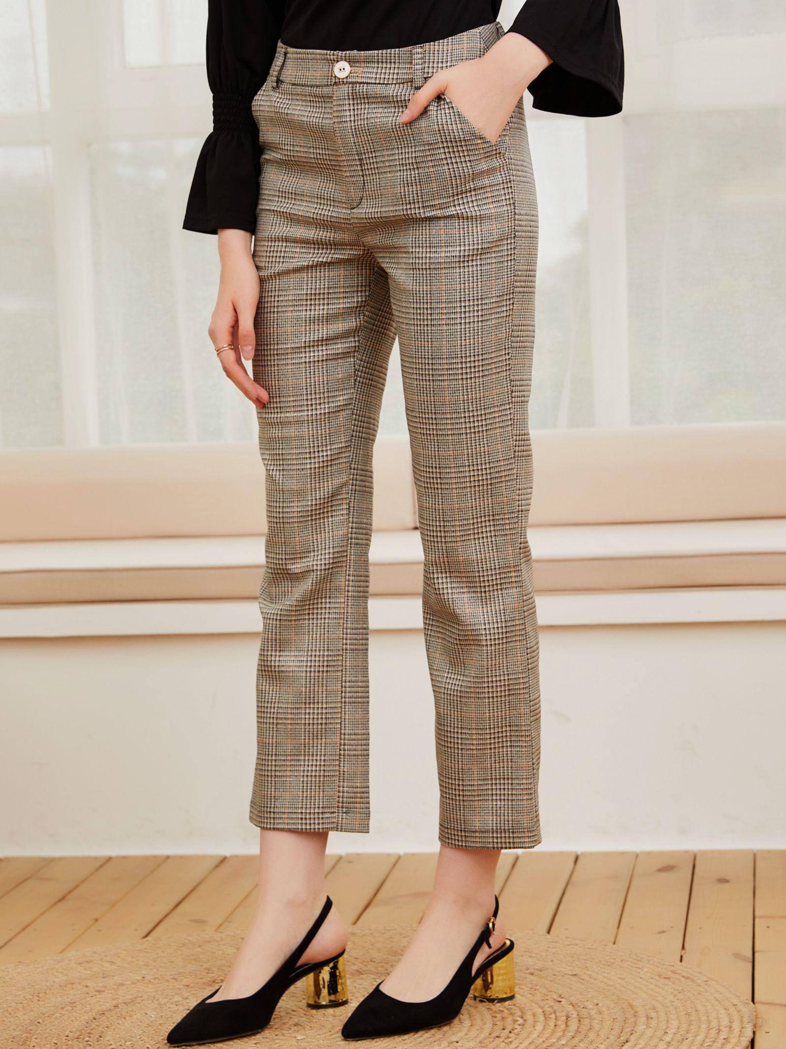 2021 spring and autumn new temperament color lattice women's long pants comfortable straight pants c
