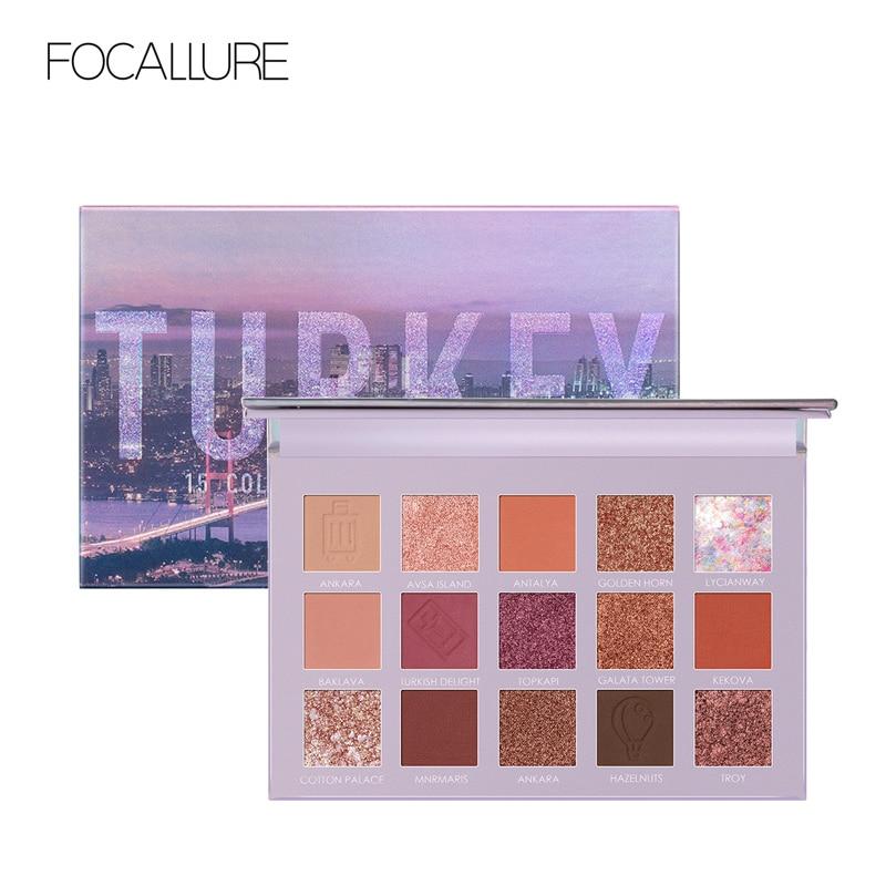 Focallure profissional paleta de sombra brilho pigmentado suave fosco tons de viagem maquiagem sombra de olho