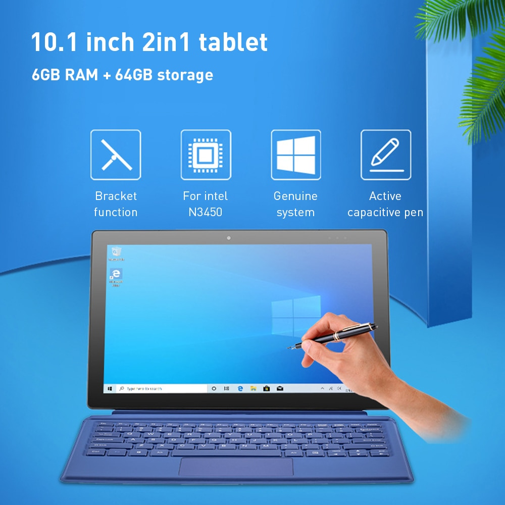 PiPO Tablet Win 10 Quad Core 6G RAM 64G IntelApollo LakeN3450 10.1 Inches Tablet with Keyboard Stylus Pen OTG Cable