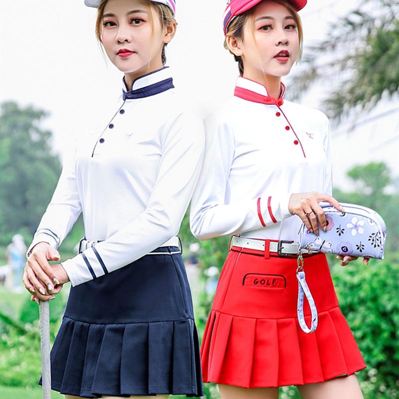 Pgm Golf Short A-Line Skirt Suits Women Long Sleeved Shirts Slim Fit High-Elastic Clothing Sets Golf Tennis Sportswear