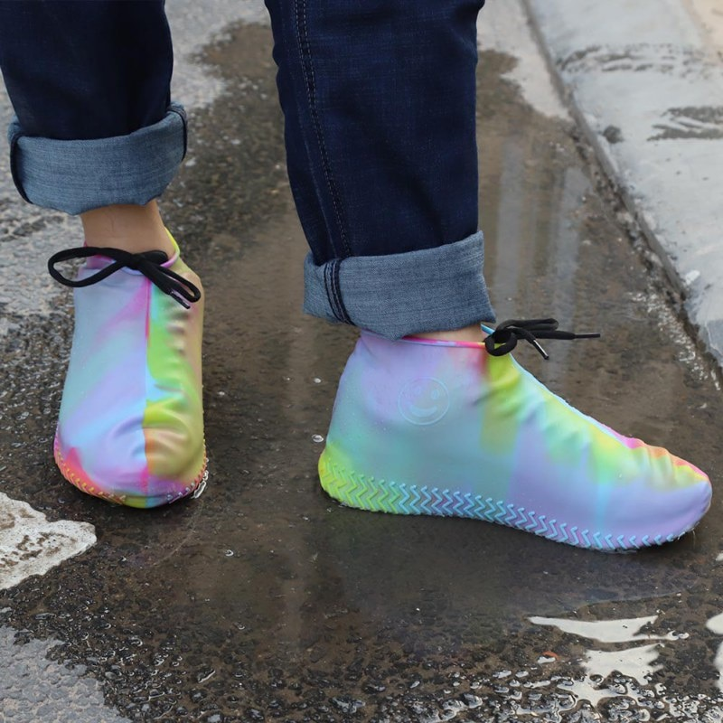 Waterproof Protector Boot Cover Shoes Unisex Women Man Zipper Rain Shoe Covers High-Top Anti-Slip Ra