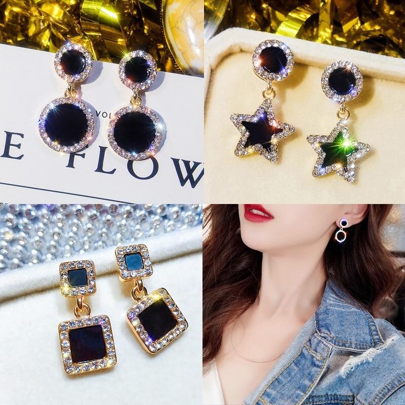New temperament versatile simple fashion black rectangular rhinestone earrings silver needle tassel earrings for women girl