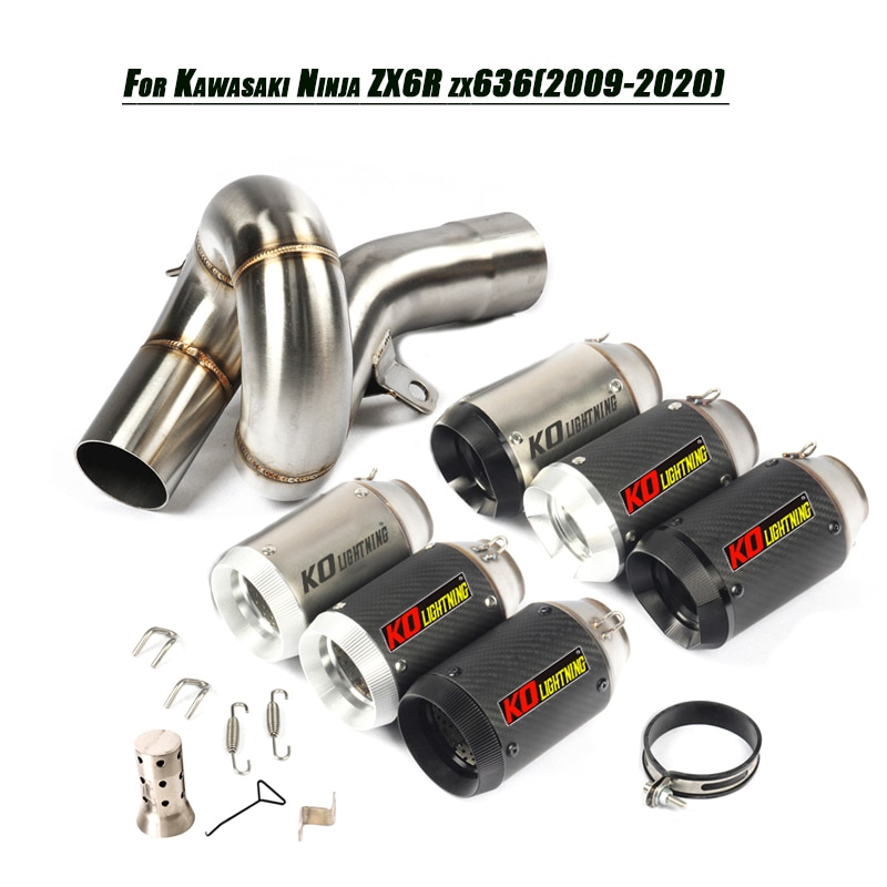 For kawasaki ZX6R ZX636 2009-2020 Motorcycle Refit Middle Link Pipe Exhaust Muffler Tip Tubes DB Killer Set Stainless Silencer