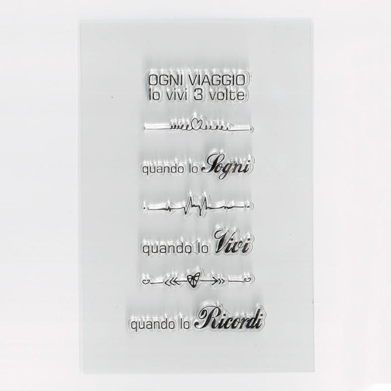 Итальянский поездки цитаты Марки DIY поздравление слово скрапбук карты Бумага Ремесло кремния резиновые прозрачные штампы