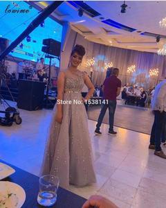 Plus Size Dubai Beading Prom Dresses 2020 Pearls Sleeveless Sexy Evening Dresses Long Women Wedding Party Dresses Vestidos