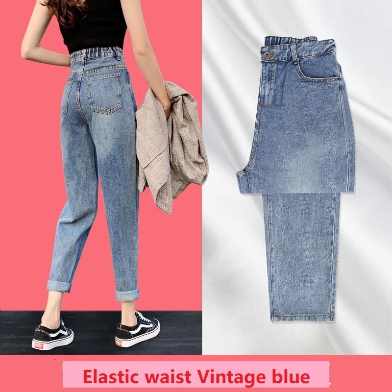 Baggy mãe jeans fino novo estilo reto solto cintura alta papai rabanete capri tornozelo comprimento calças de carga feminina queda 2020