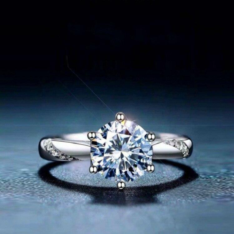 خاتم فضي s925 GRA cert 1.00ct D VVS المويسانتي الماسي هدية للبنات