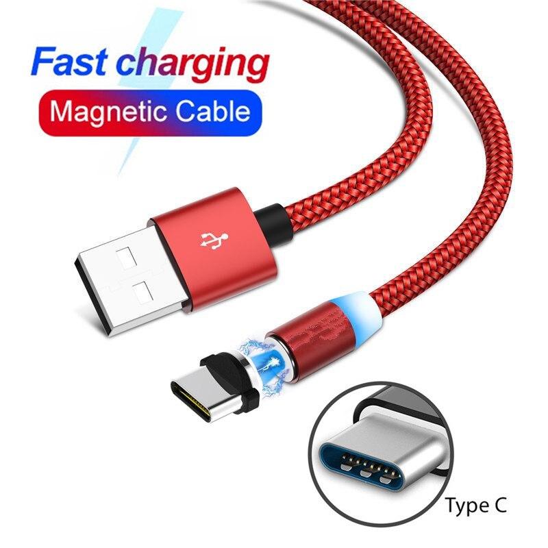 Cable USB tipo C magnético LED cargador rápido para teléfono Samsung S10 S11 S8 A20E A40 NOKIA 8,1 6,1 + Huawei P30 9x Honor 9 10 20 Pro